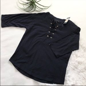 Tommy Hilfiger NWT lace up blue top